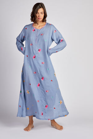 The Hollylock Dress Uzbekistan Flower Blue