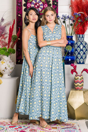 The Aster Dress Ikat Blue
