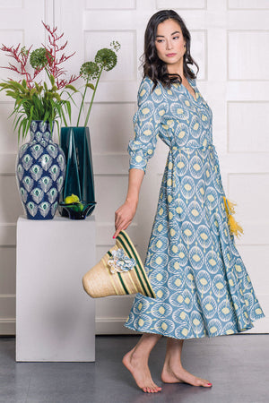 The Azurite Dress Ikat Blue