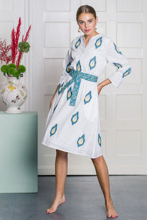 The Foxglove Dress Ikat Embroidery Blue