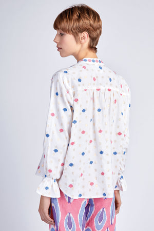 The Broom Blouse Pink Blue Leaf
