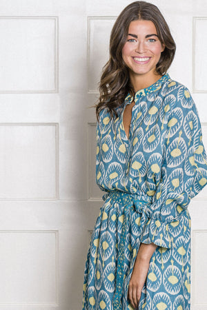The Broom Linen Blouse Ikat Blue