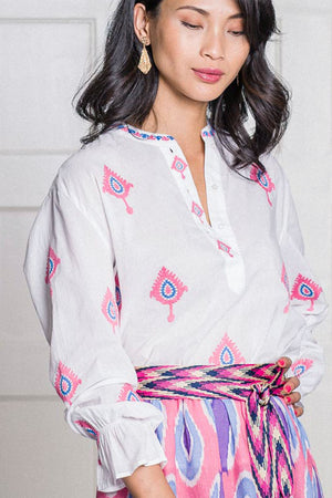 The Broom Blouse Ikat Embroidery Pink