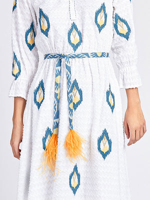 The Ikat Blue Belt Feathers