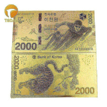 Load image into Gallery viewer, Korea Gold Plated Banknote 2000 Won Gold Foil Banknote Gift For Business Christmas Birthday Collection
