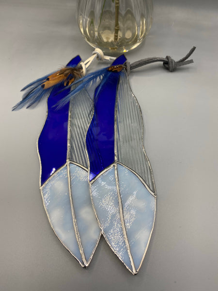 Blue, White and Clear Stained Glass Feather