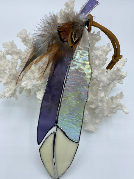 Beige, Purple and Clear Iridescent Stained Glass Feather
