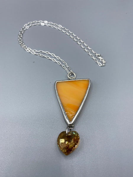 Creamy Orange Stained Glass Pendant