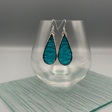 Clear Teal Stained Glass Earrings