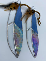 White and Blue Stained Glass Feather