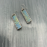 Iridescent Clear Cube Stained Glass Earrings