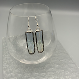 Clear Textured Iridescent Stained Glass Earrings