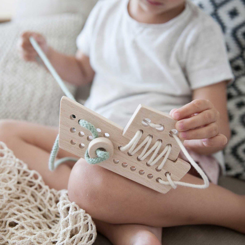 Aleta kids Wooden Pattern Making and Lacing Fishing Boat