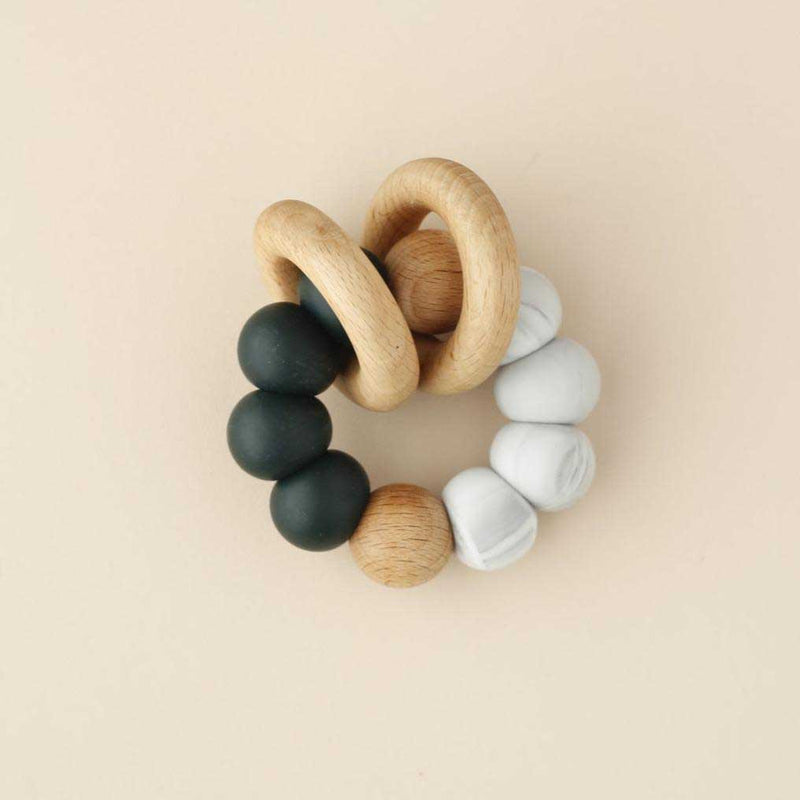 Little Chew Teething Toy - Double Ring Silicone Wood Ring Billa Marble