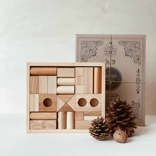 Wooden Story Blocks in Tray - 30pcs Natural