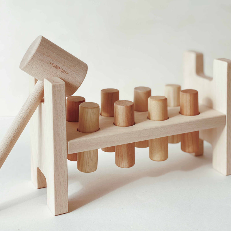 wooden story pound a peg natural