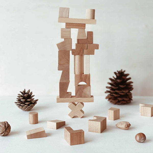 wooden story stacking tower natural