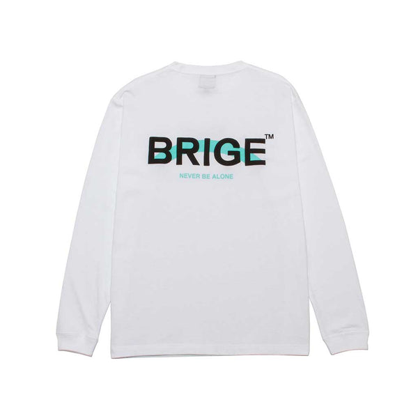 BRIGE Logo Long Sleeve Tee - Unisex Fitting - White