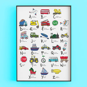 ABC of Transport, cars, vehicles print by Lucie Cooke Studio