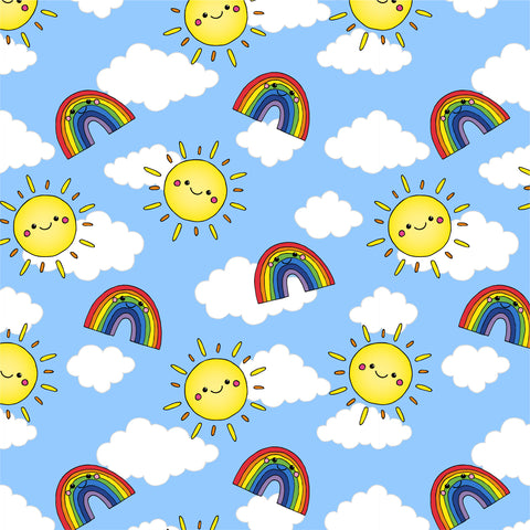 Sunshine and rainbows repeat pattern by Lucie Cooke Studio