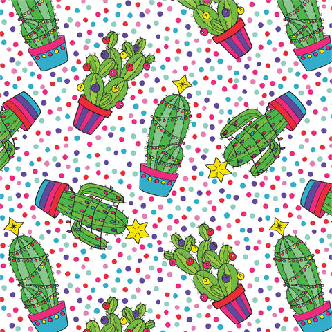 Christmas Cactus repeat pattern by Lucie Cooke Studio