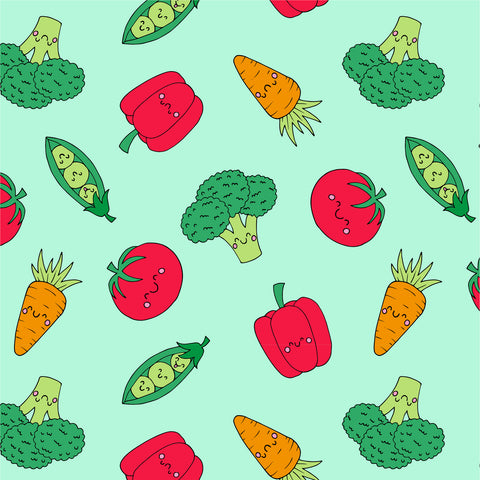 Veggie repeat pattern by Lucie Cooke Studio