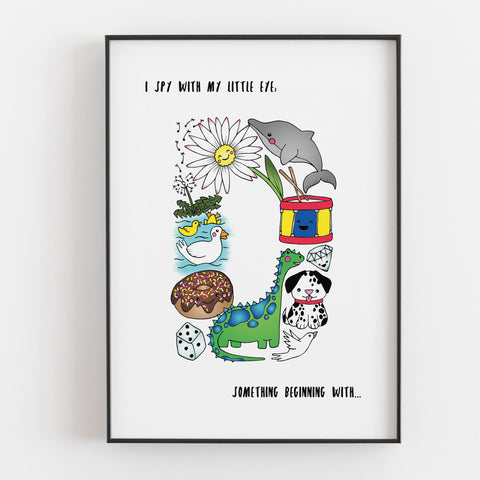 'I spy....' Letter D print by Lucie Cooke Studio