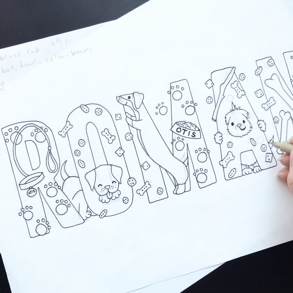 Hand drawing of Dog Lover - Bespoke Name Illustration by Lucie Cooke Studio