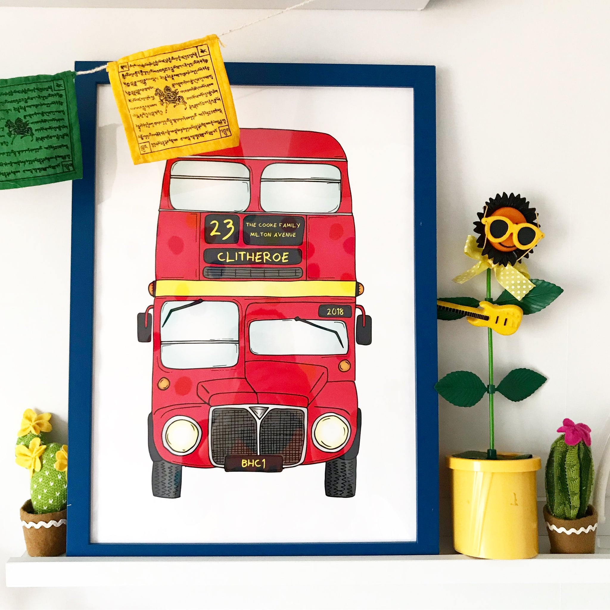Big Red Bus - Personalised Print by Lucie Cooke Studio