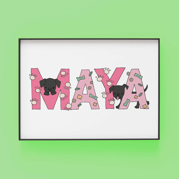 MAYA pink and green Dog Lover - Bespoke Name Illustration by Lucie Cooke Studio