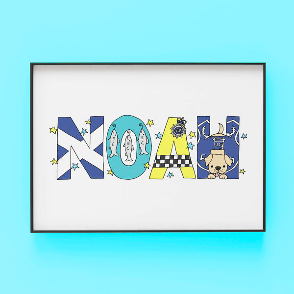Noah Where I am from - Bespoke Name Illustration by Lucie Cooke Studio