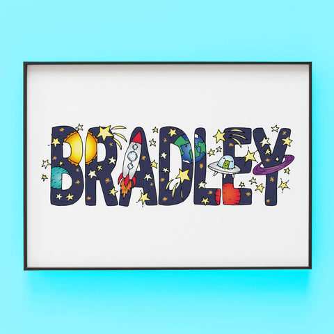 Bradley Outer space - Bespoke Name Illustration by Lucie Cooke Studio