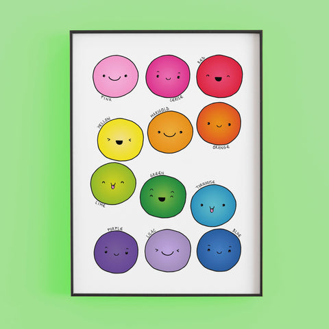 Hand drawn smiling face circles in rainbow colours - print by Lucie Cooke Studio