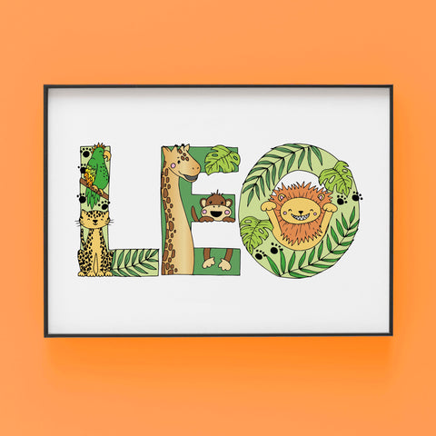 LEO wild thing jungle theme - Bespoke Name Illustration by Lucie Cooke Studio