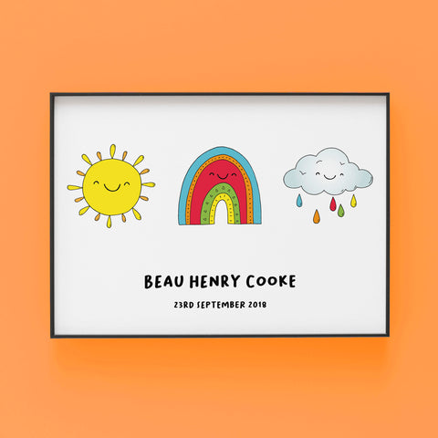 Sunshine, Rainbow and Cloud - Personalised Print by Lucie Cooke Studio