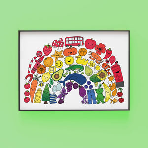 Rainbow of things print by Lucie Cooke Studio