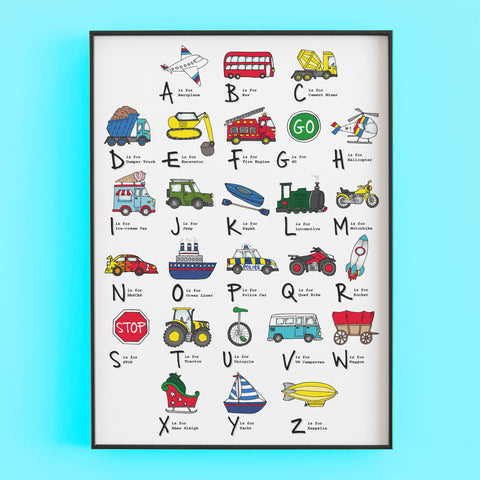 The ABC of transport - hand drawn print featuring cars and vehicles by Lucie Cooke Studio