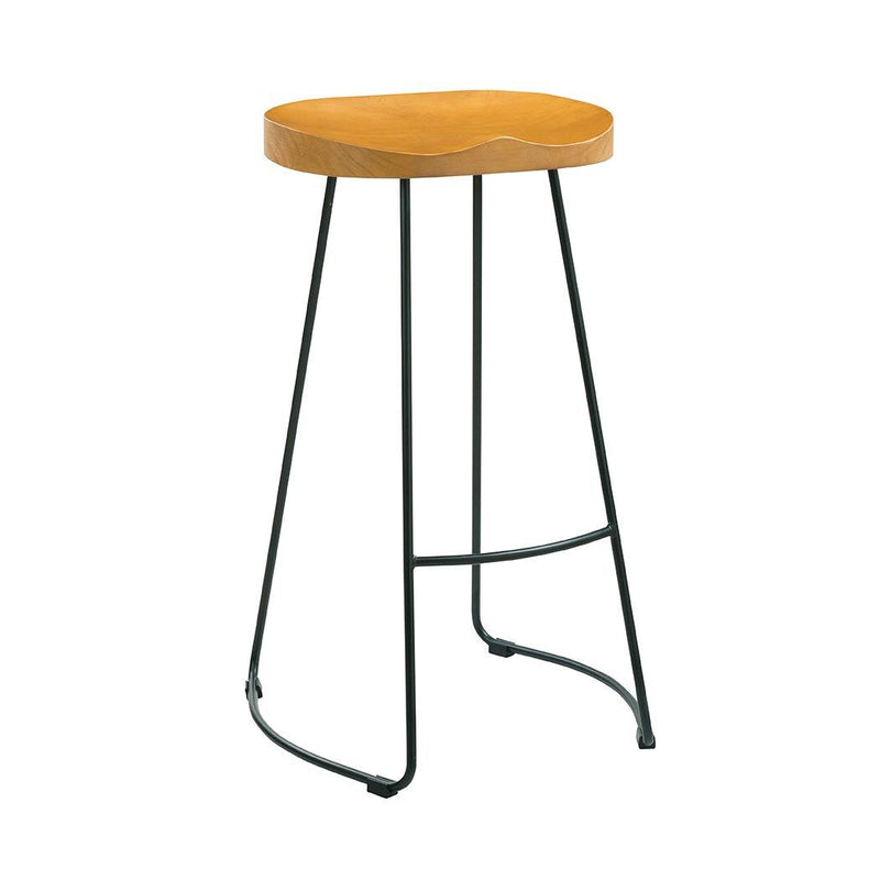 Bailey Pine Wood Seat Black Metal  Leg Bar Stool