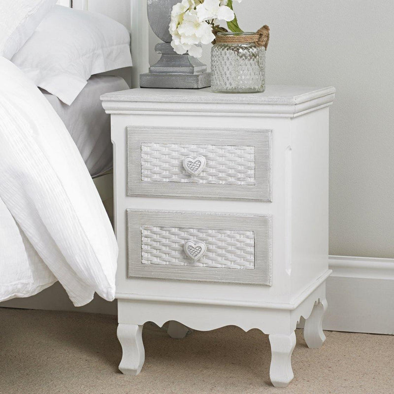 Brittany 2 Drawer Bedside White-Grey