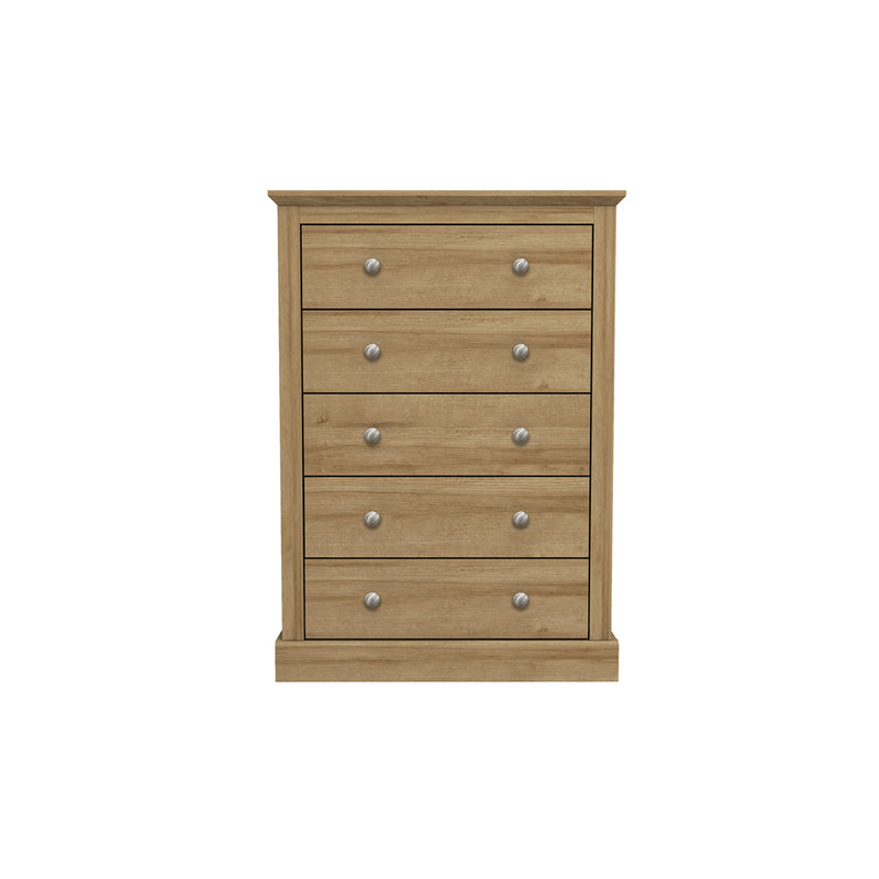 Devon 5 Drawer Chest Oak