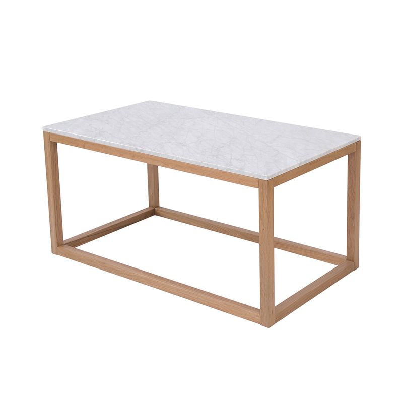 Harlow Coffee Table Oak-White Marble Top