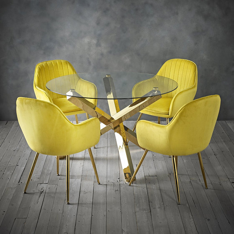 Lara Dining Chair With Gold Legs (Pack of 2)