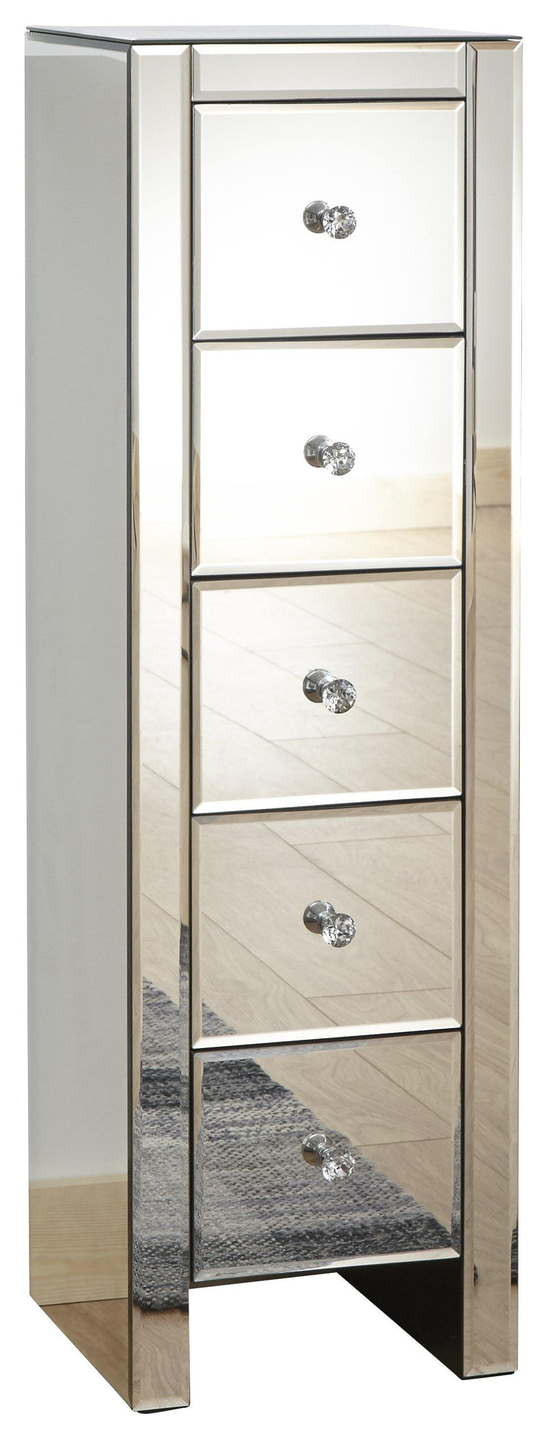 Mirrored 5 Drawer Slim Chest - Bankrupt Beds