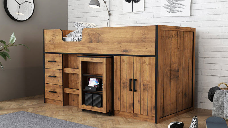 Rocco Midsleeper with Pullout Storage Vintage Oak with Black Frame