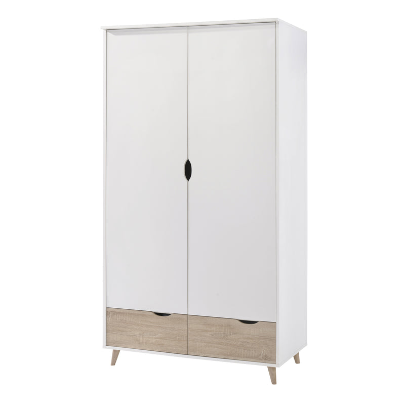 Stockholm 2 Door Wardrobe White-Oak
