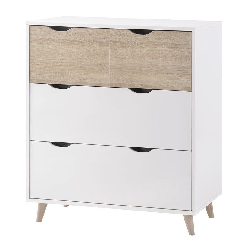 Stockholm 4 Drawer Chest White-Oak