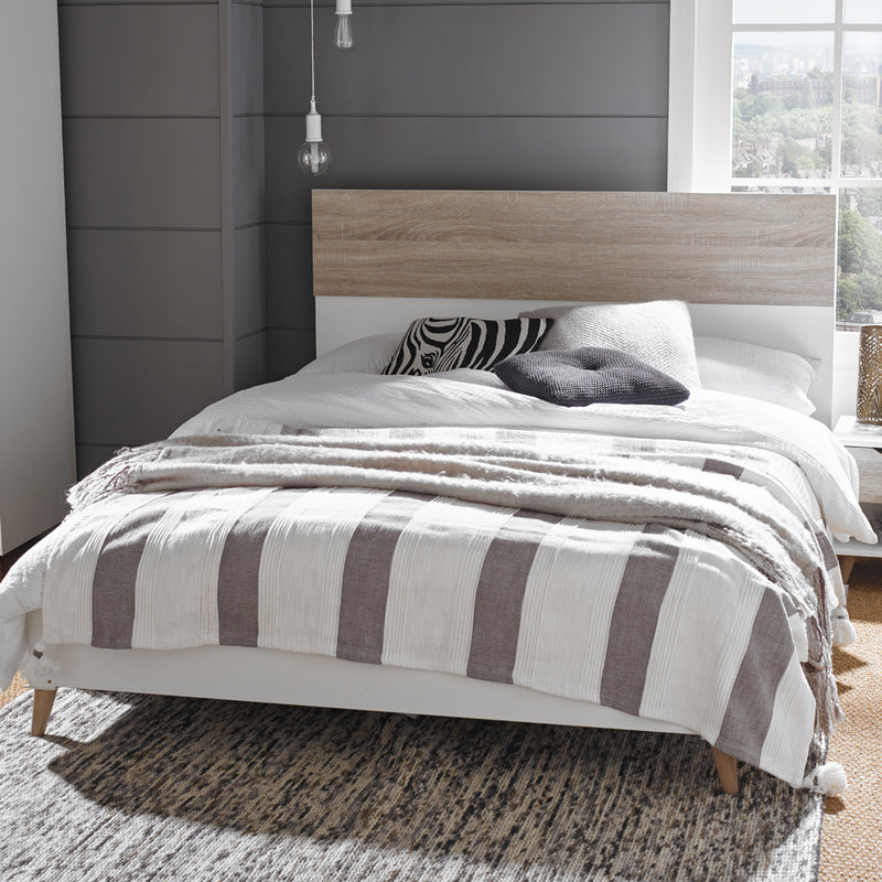 Stockholm 4.6 Double Bed White-Oak