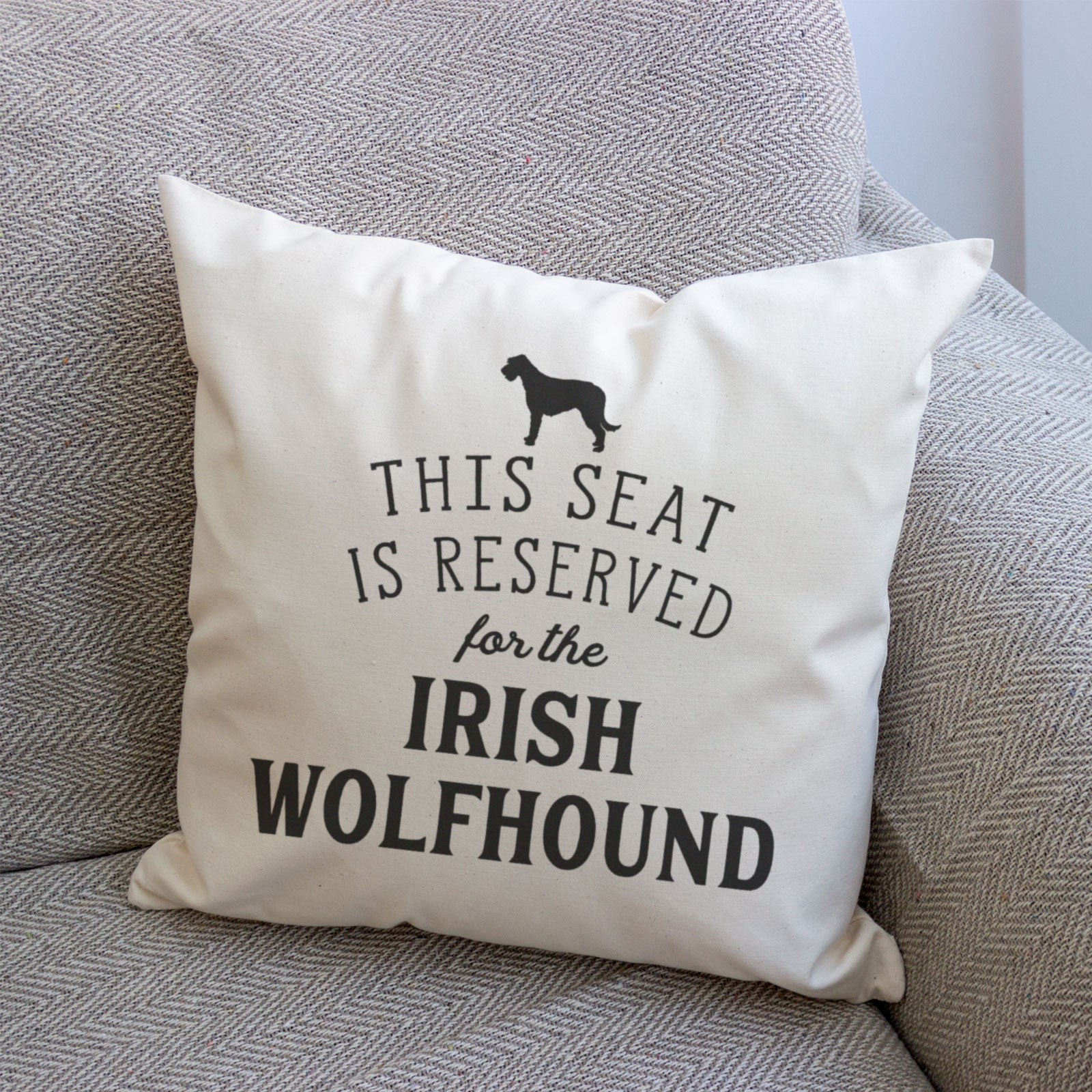 Reserved for the Irish Wolfhound Cushion Cover