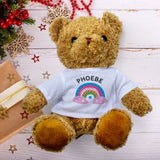 Teddy Bear Personalised Name - Rainbow