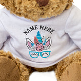 Teddy Bear Personalised Name - Unicorn Face